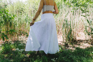 Panel Skirt - white cotton-linen