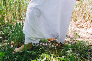 Harem Skirt Pants - white cotton-linen