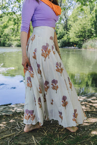 Panel Skirt - orange/lavender