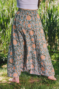 Harem Skirt Pants - sky blue/orange