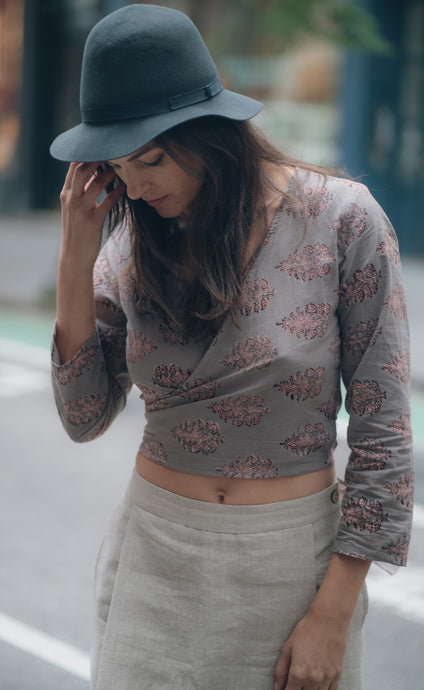 Slate Wrap Crop Top