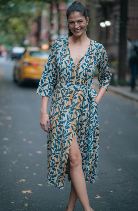 Floral Indigo Wrap Dress