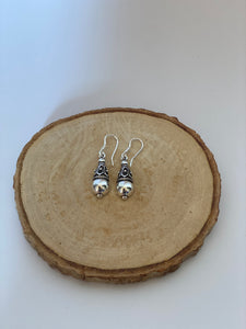 Silver Small Tribal Ball Earrings