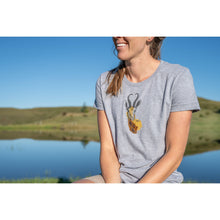 Trappers Ladies Tshirt - Hand Beaded Springbok