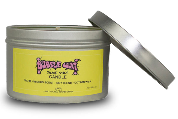 Bubble Gum Surf Wax Candle - 6oz Tin With Warm Hibiscus Guava Scent