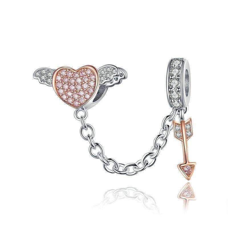 Arrow of Cupid Heart Love Safety Chain Rose Gold Plated Silver - Unique women Jewelry! Rings, bracelets, watches & more..