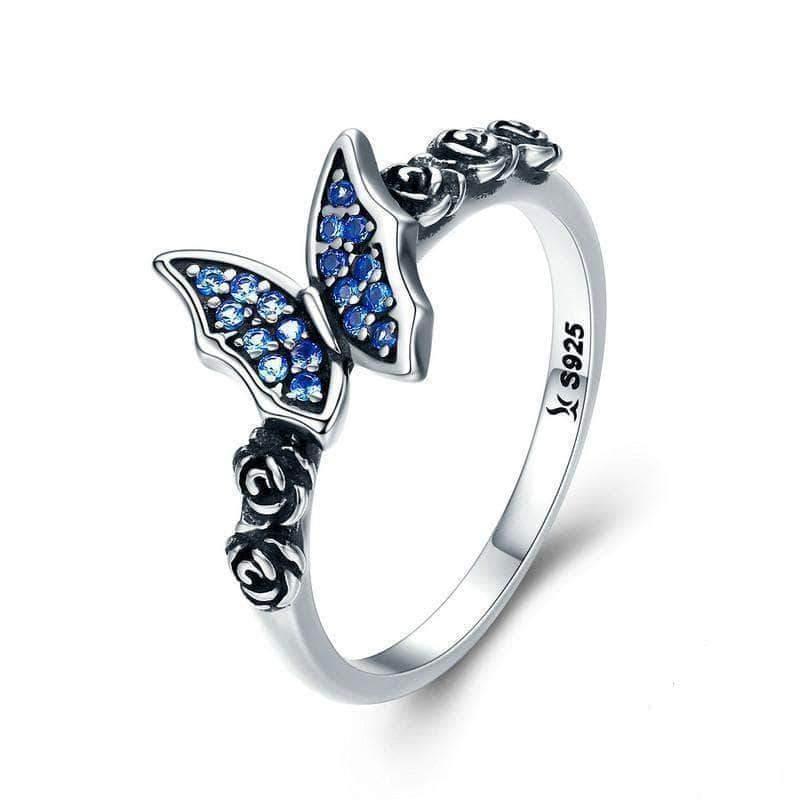 Blue Butterfly on Flower CZ Silver Ring
