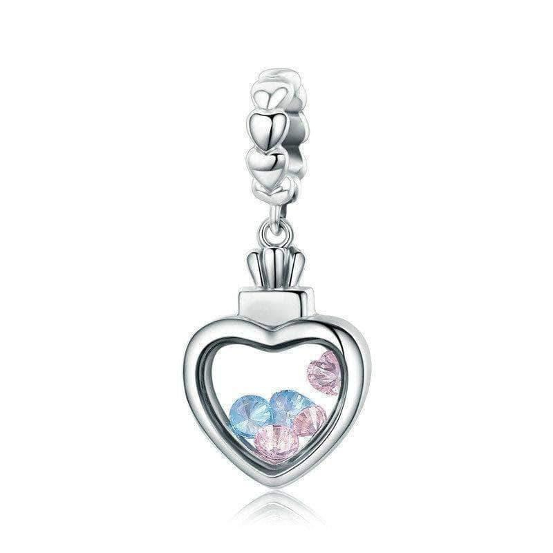 Blue & Pink CZ Inside Memory Heart Box Dangle Charm Silver - Unique women Jewelry! Rings, bracelets, watches & more..