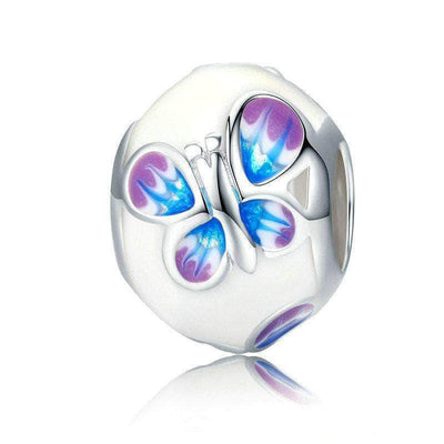 Butterfly White Enamel Bead Silver - Unique women Jewelry! Rings, bracelets, watches & more..