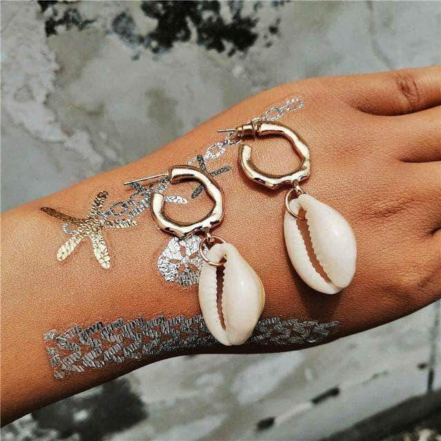 Cowrie Ring Seashell Drop Earrings - Unique women Jewelry! Rings, bracelets, watches & more..