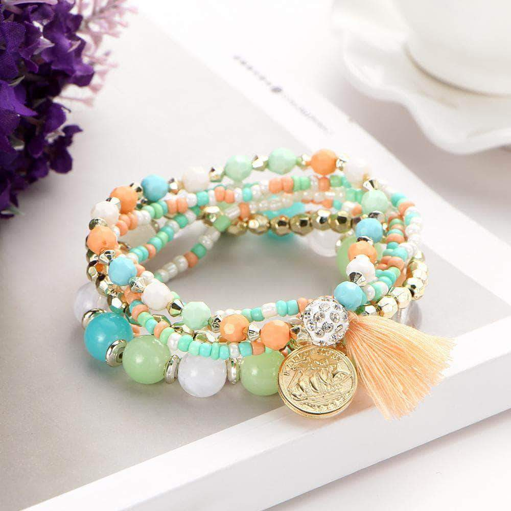 Crystal Multicolour Beads Weave Tassel Bracelet - Unique women Jewelry! Rings, bracelets, watches & more..