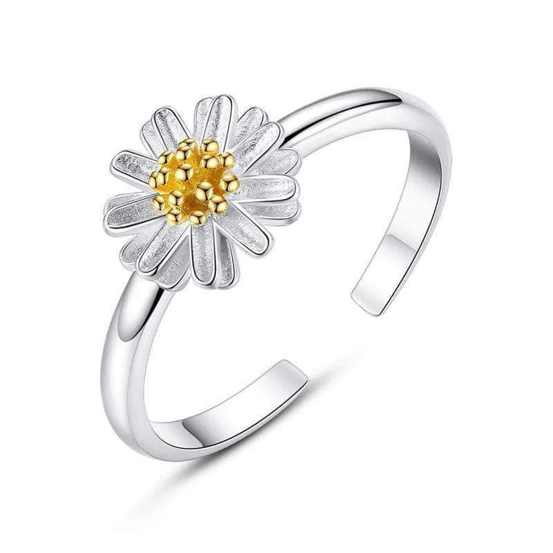Daisy Flower Adjustable Ring Silver - Unique women Jewelry! Rings, bracelets, watches & more..