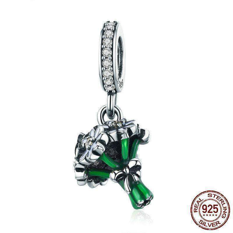 Daisy Flower Clear CZ Dangle Charm Silver - Unique women Jewelry! Rings, bracelets, watches & more..