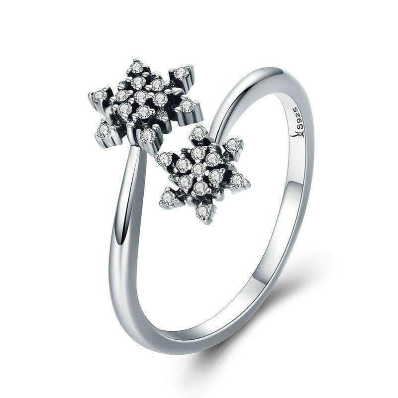 Dazzling CZ Snowflake Open Size Ring Silver - Unique women Jewelry! Rings, bracelets, watches & more..