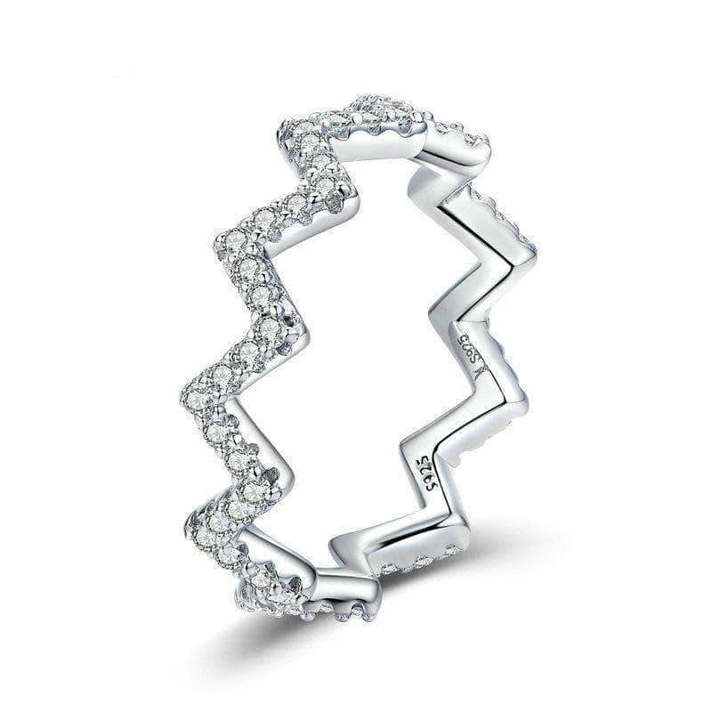 Dazzling Wave Heartbeat Eternity Ring Platinum Plated Silver - Unique women Jewelry! Rings, bracelets, watches & more..