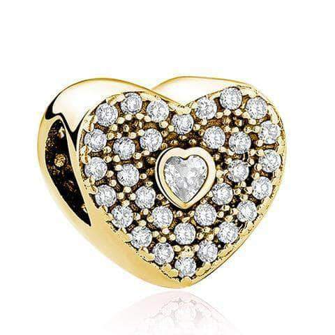 Deep Heart Charm CZ Gold Plated Silver - Unique women Jewelry! Rings, bracelets, watches & more..
