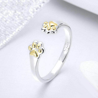 Dog Paw Open Size Ring Platinum Plated Silver - Unique women Jewelry! Rings, bracelets, watches & more..