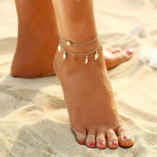 Double Leaves Anklet - Unique women Jewelry! Rings, bracelets, watches & more..