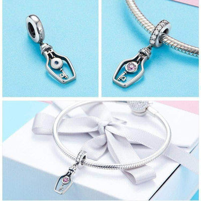 Drift Bottle With Key Dangle Charm Silver - Unique women Jewelry! Rings, bracelets, watches & more..