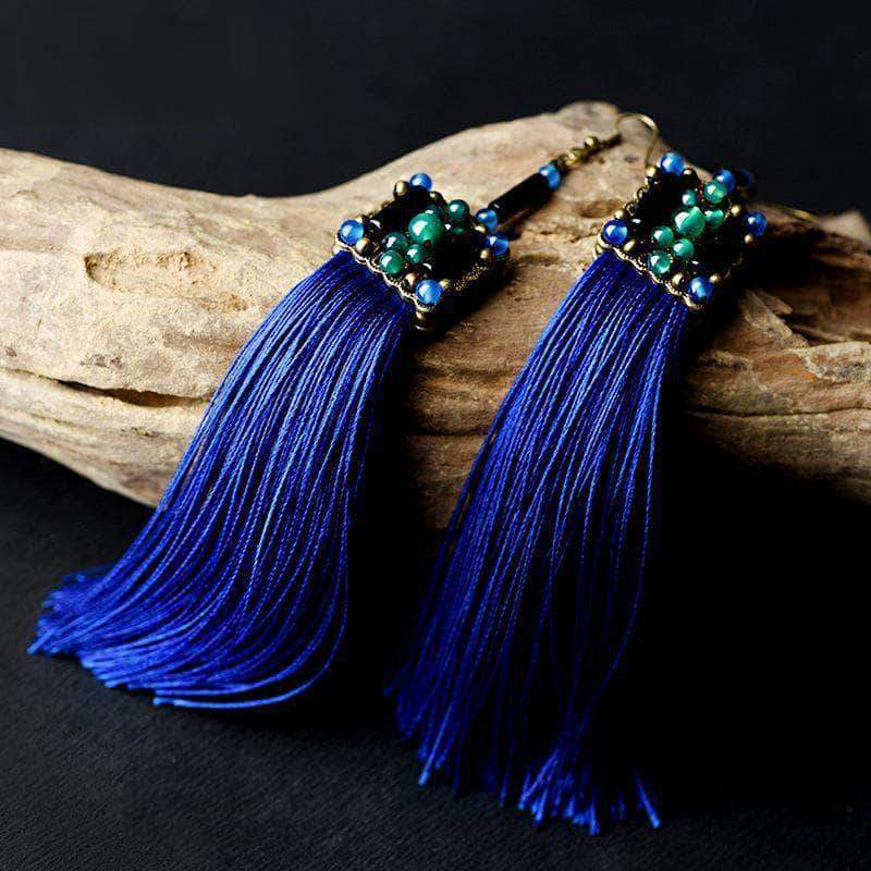 Ethnic Blue Stine Tassel Drop Earrings