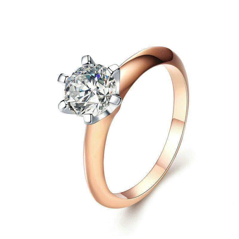 First Love Engagement Wedding Ring Rose Gold Plated Silver - Unique women Jewelry! Rings, bracelets, watches & more..