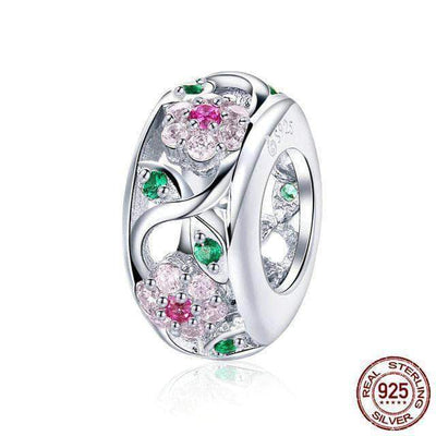 Flower Beads CZ Charm Silver - Unique women Jewelry! Rings, bracelets, watches & more..