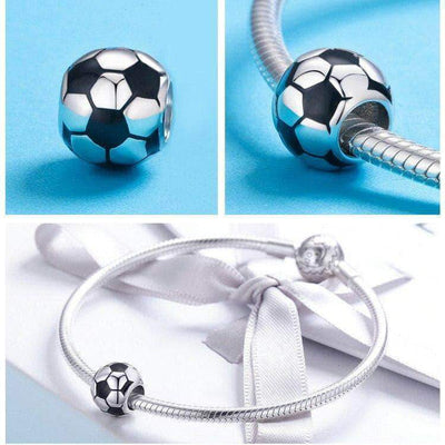 Football Charm Bead Platinum Plated Silver - Unique women Jewelry! Rings, bracelets, watches & more..