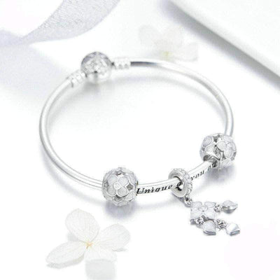 Four Leaf Clover Complete Charm Bracelet Silver - Unique women Jewelry! Rings, bracelets, watches & more..