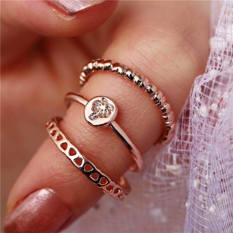 Geometric Love Palm Ringset
