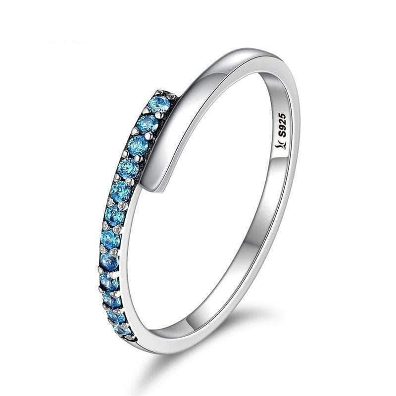 Geometric Melody Blue Sparkling CZ Ring Silver - Unique women Jewelry! Rings, bracelets, watches & more..