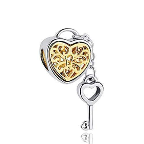 Heart Padlock with Key Charm Gold Plated Silver - Unique women Jewelry! Rings, bracelets, watches & more..