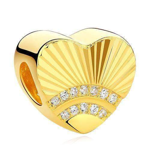 Heart Sunshine Charm CZ Gold Plated Silver - Unique women Jewelry! Rings, bracelets, watches & more..