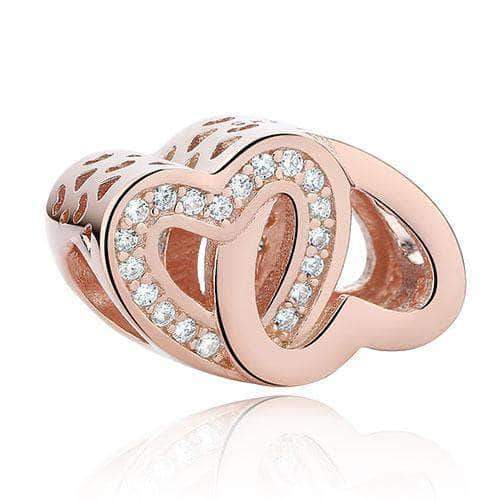 Hollow Double Love Charm Rose Gold Plated Silver - Unique women Jewelry! Rings, bracelets, watches & more..