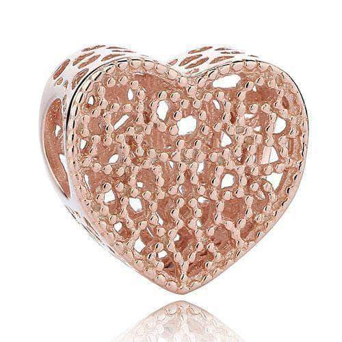 Hollow Heart Charm Rose Gold Plated Silver - Unique women Jewelry! Rings, bracelets, watches & more..