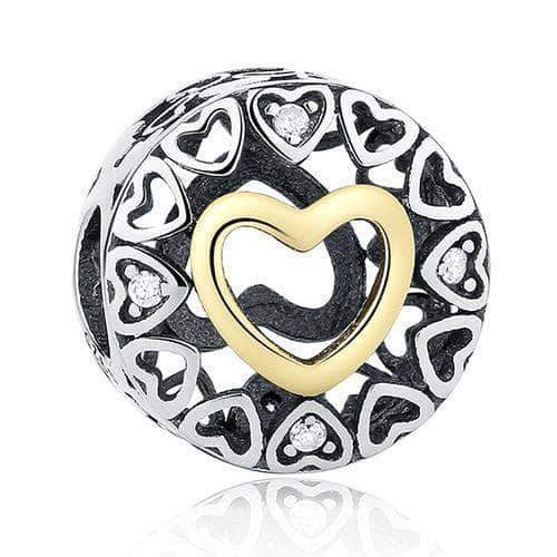 Hollow Hearts Stopper Charm Gold Plated Silver - Unique women Jewelry! Rings, bracelets, watches & more..
