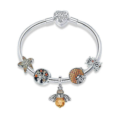 Honey Bee Complete Charm Bracelet Silver - Unique women Jewelry! Rings, bracelets, watches & more..