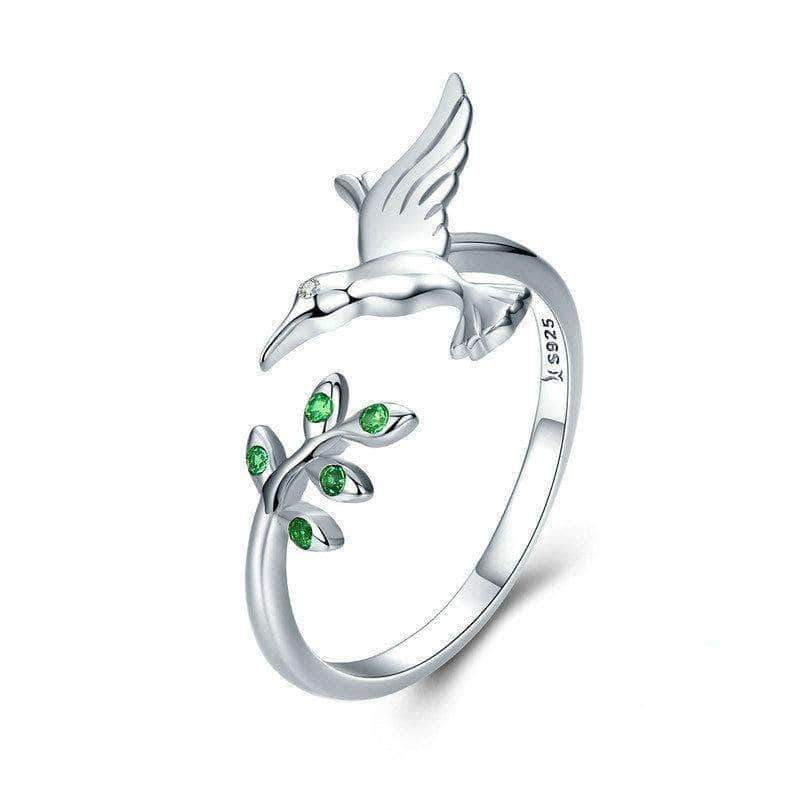 Hummingbird & Green Leaves Open Size Ring Silver - Unique women Jewelry! Rings, bracelets, watches & more..