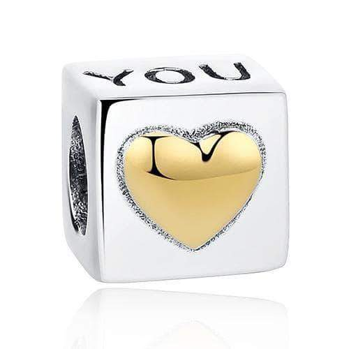 I Love you Cube Charm Gold Plated Silver - Unique women Jewelry! Rings, bracelets, watches & more..