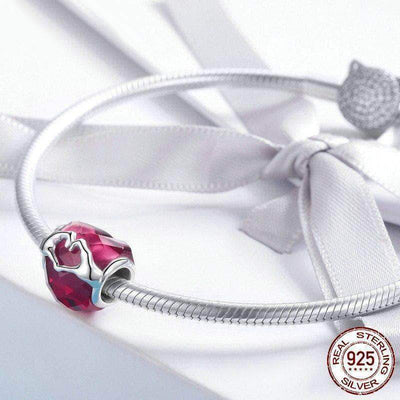 I Love You Glass Heart Bead Charm Platinum Plated Silver - Unique women Jewelry! Rings, bracelets, watches & more..