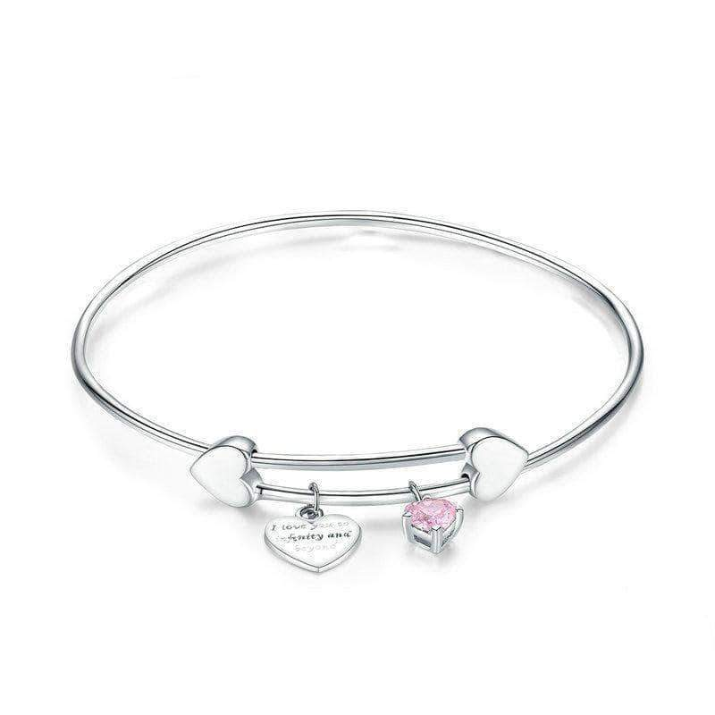 I Love You Promise Charm Bangle Platinum Plated Silver - Unique women Jewelry! Rings, bracelets, watches & more..