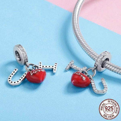 I Love You Red Heart CZ Charm Silver - Unique women Jewelry! Rings, bracelets, watches & more..
