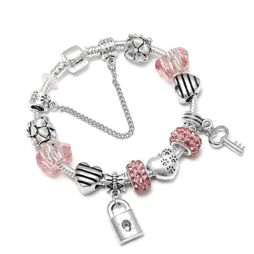 Key Lock Heart and Apple Charm Bracelet - Unique women Jewelry! Rings, bracelets, watches & more..