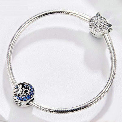 Kitty in the Blue Moon Charm Bead Silver - Unique women Jewelry! Rings, bracelets, watches & more..