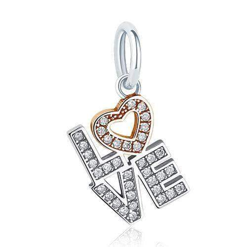LOVE Dangle Charm CZ Rose Gold Plated Silver - Unique women Jewelry! Rings, bracelets, watches & more..