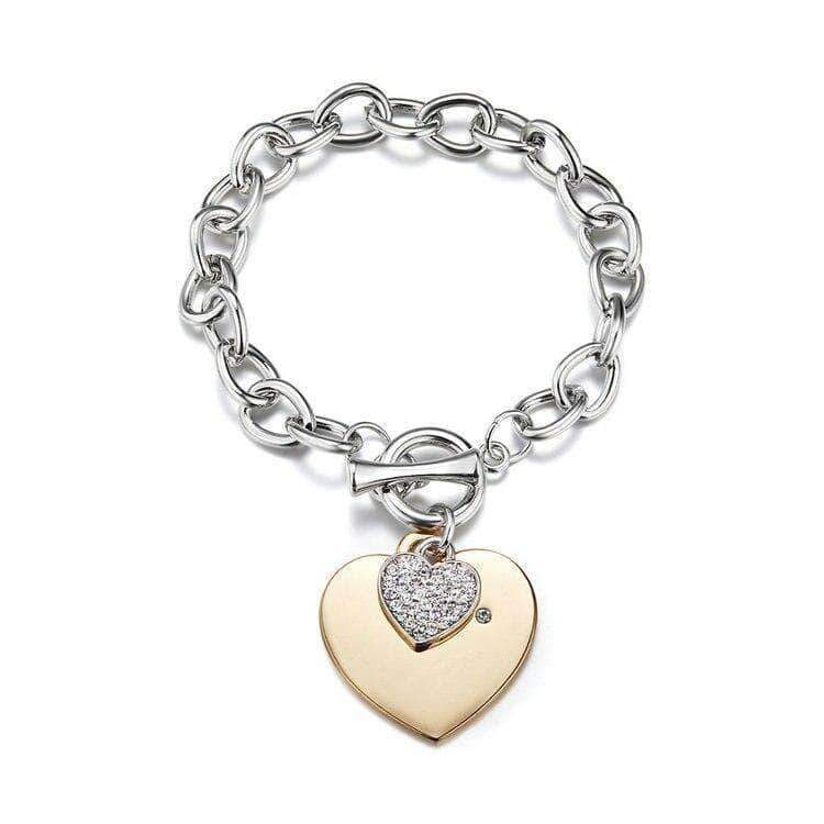 Love Double Heart Chain Bracelet - Unique women Jewelry! Rings, bracelets, watches & more..