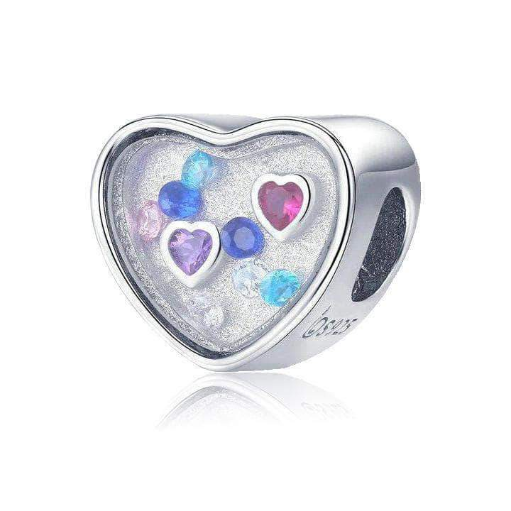 Love Heart Colourful CZ Charm Bead Silver - Unique women Jewelry! Rings, bracelets, watches & more..