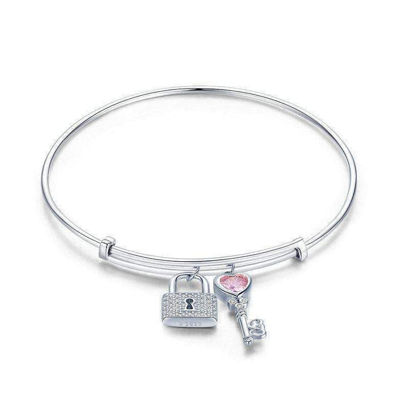 Love Lock with Key Charm Bangle Platinum Plated Silver - Unique women Jewelry! Rings, bracelets, watches & more..