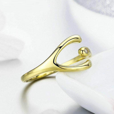 Lucky Wishbone Ring Gold Plated Silver - Unique women Jewelry! Rings, bracelets, watches & more..