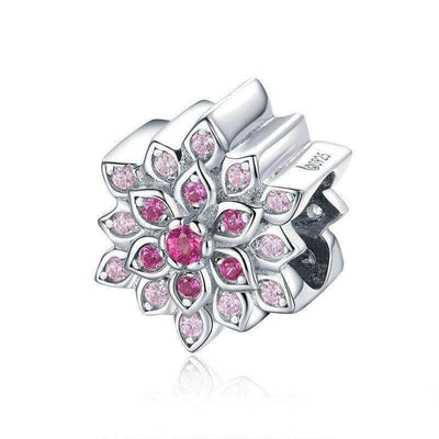 Luminous Red Lotus Flower Bead Charm Platinum Plated Silver - Unique women Jewelry! Rings, bracelets, watches & more..