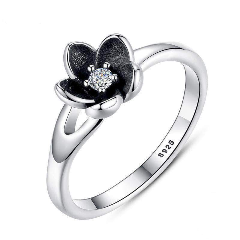Mystic Flower With CZ & Black Enamel Wedding Ring Silver - Unique women Jewelry! Rings, bracelets, watches & more..